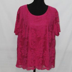 Norton McNaughton Bright Pink Lace Top